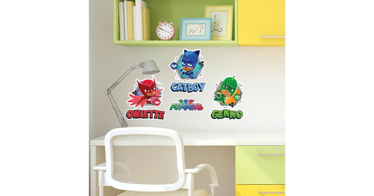 pj masks catboy, owlette and gekko: wall stickers and decorations