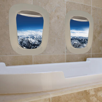 Snowy montains porthole